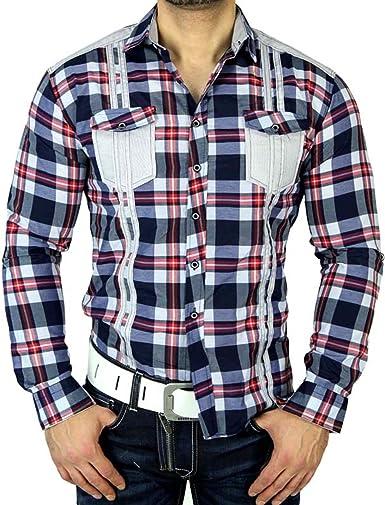 Baxboy venni Hombre de Cuadros de Camisa Slim Fit Polo Camisa ...