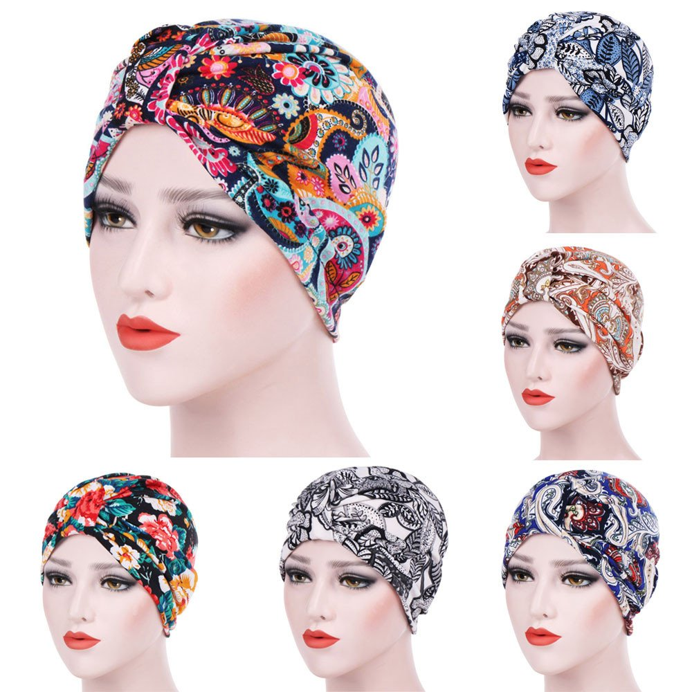 Womens India Hat Muslim Ruffle Beanie Scarf Turban Hat Chemo Sleep Cap Hair Wrap Headwraps Cancer Hat Slouchy Hats Blue by Tianjinrouyi Hats (Image #3)