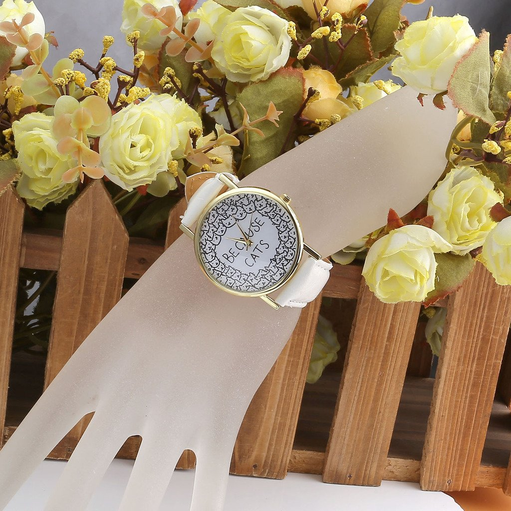 JSDDE BECAUSE CATS Owl Fraux Leather Band Golden Case Womens Ladies Fasion Quartz Wrist Watches,White Band