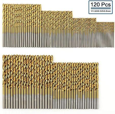 60 Pieces Titanium Coated Twist Drill Wood HSS Steel Metal Drill Bit Set