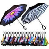 Spar. Saa Double Layer Inverted Umbrella with C-Shaped Handle, Anti-UV Waterproof Windproof Straight Umbrella for Car…