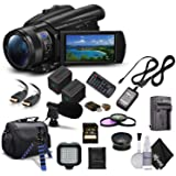 Sony Handycam FDR-AX700 4K HD Video Camera Camcorder + Extra Battery and Charger + 3 Piece Filter Kit + Wide Angle Lens + Cas