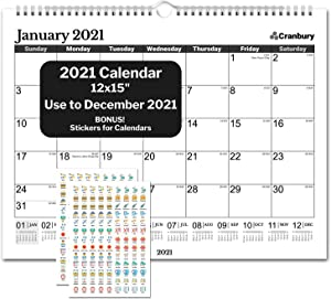 CRANBURY Academic Wall Calendar 2020-2021 (Black), Big Wall Calendar 2020 2021 15x11.5 Inches, Use Now to December 2021, for School Year Calendar 2020-2021 and Full Year 2021, Bonus Planner Stickers