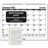 Academic Wall Calendar 2020-2021 (Black), Big Wall Calendar 2020 2021 15x11.5 Inches, Use July 2020 to December 2021, for School Year Calendar 2020-2021 and Full Year 2021, Bonus Planner Stickers