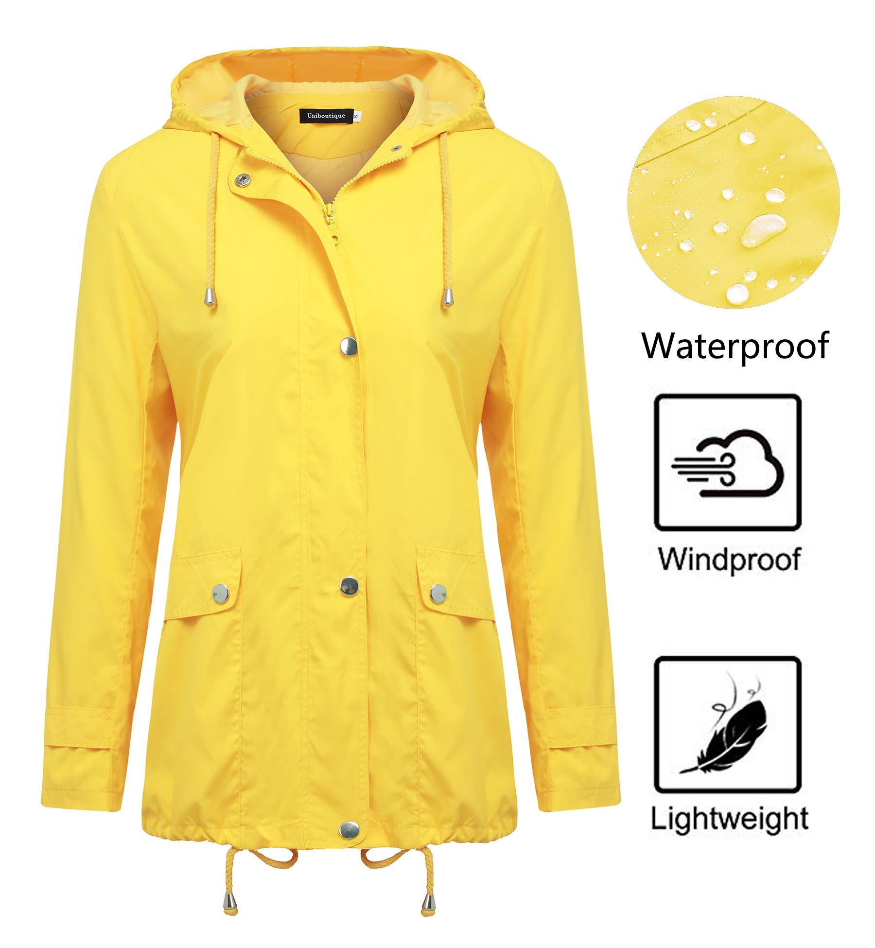 Uniboutique Rain Jackets Women Casual Raincoat Hooded Lightweight Outdoor  Windbreaker Waterproof Jacket product image 411ca7572