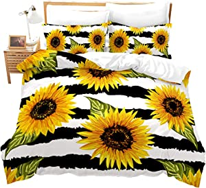 Feelyou Sunflower Duvet Cover King Stripes Pattern Decor Bedding Set Panoramic Printed Adult Teen Kids Comforter Cover Garden Theme Comforter Set for Boys Girls Women Plant Decor Soft Bedding Set