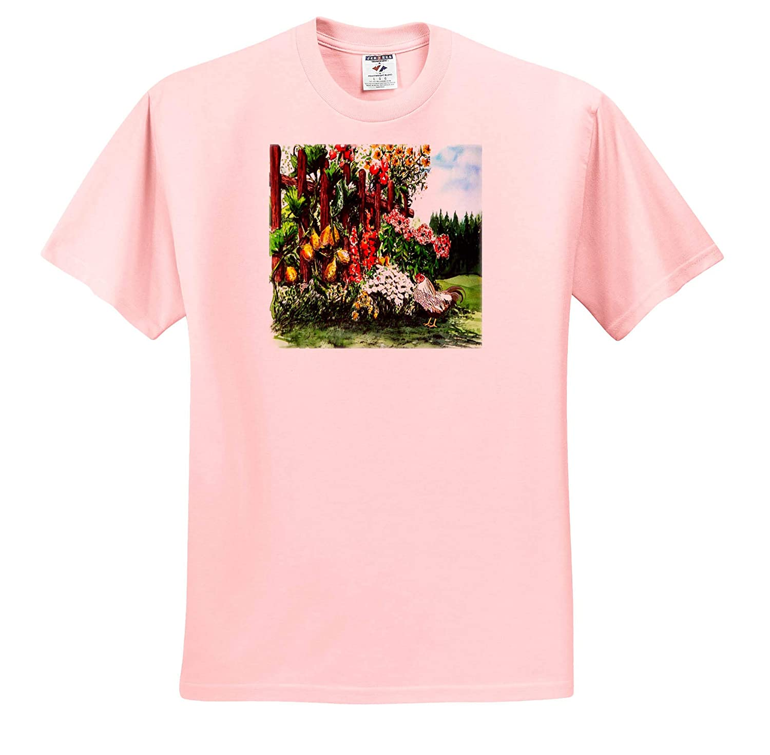 T-Shirts Image of Country Fence with Fruit Flowers and Rooster Painting 3dRose Lens Art by Florene Watercolor Art