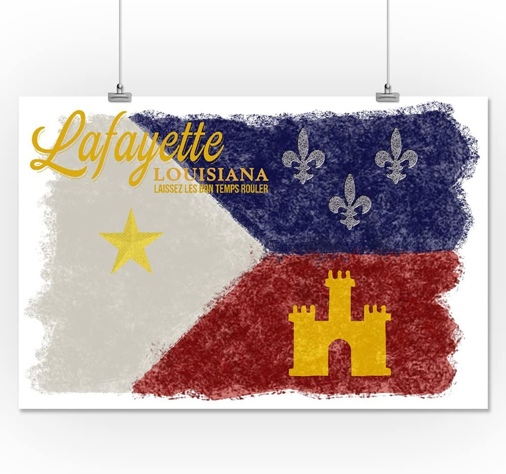 Let the good times roll Flag 36x54 Giclee Gallery Print, Wall Decor Travel Poster Lafayette Louisiana