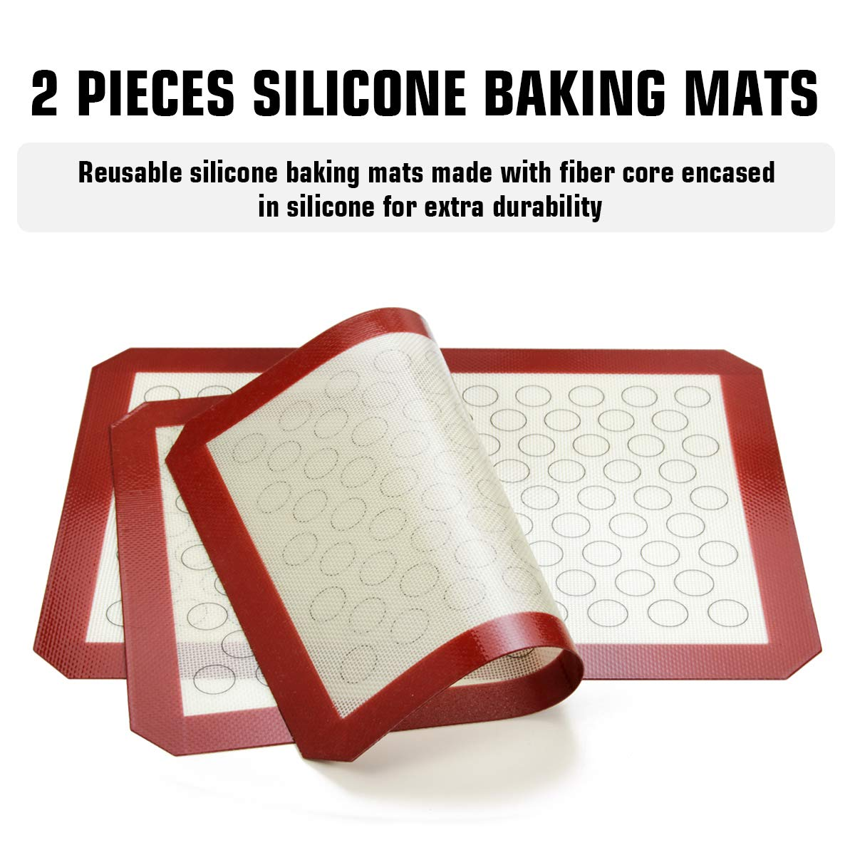 Footek Baking Sheets, Rack Set & Silicone Baking Mats, Stainless Steel Baking Pans Rectangle 16'' L×12'' W×1'' H, Non Toxic & Healthy, Mirror Polish & Easy Clean, Pack of 6 (2 Sheets + 2 Racks + 2 Mats) by Footek (Image #2)
