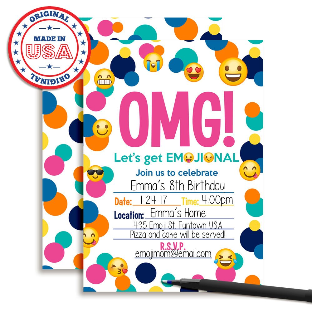 Emoji Birthday Party Invitations 20 5x7 Fill in Cards with Twenty White Envelopes by AmandaCreation 20 5x7 Fill in Cards with Twenty White Envelopes by AmandaCreation Amanda Creation