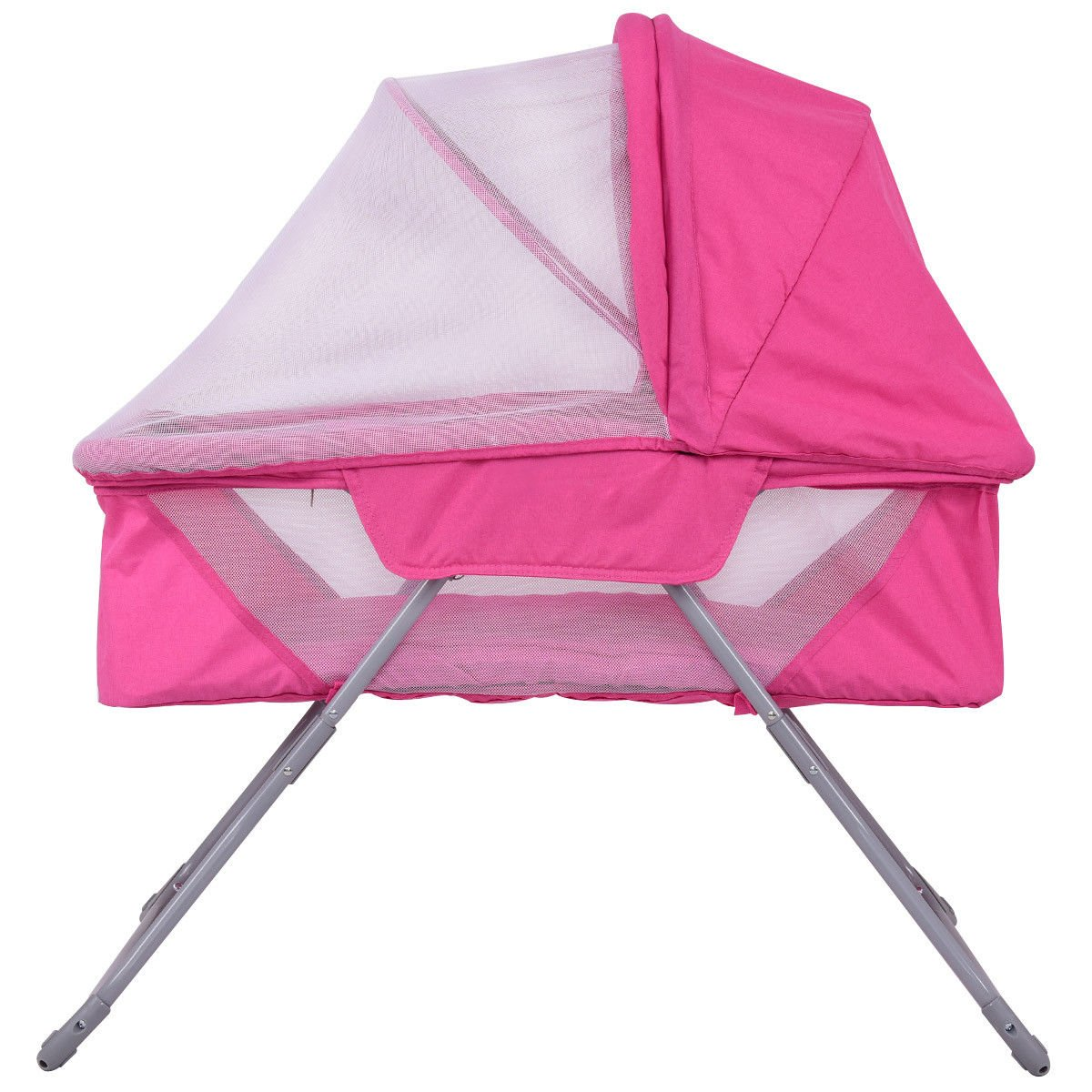Foldable Rocking Bed with Mosquito Net /& Carrying Bag Pink Costzon Baby Bassinet