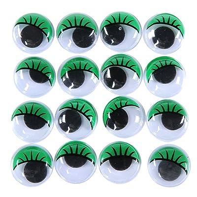 100pcs Yeux Mobiles Verts avec Cils 15mm