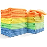 Masthome 4-Colors Clean Rags 24 Pack 16 X 12.2 Inch Highly Absorbent Cleaning Cloths No Fabric Soft Microfiber Kitchen Car Cleaning Rags