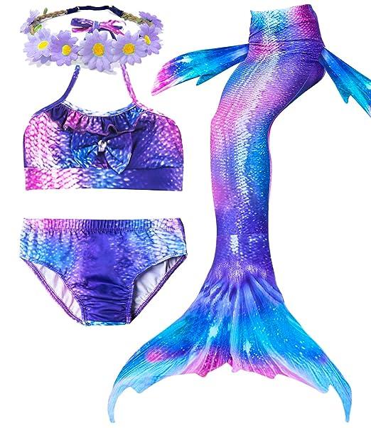 Amazon.com: 4 piezas de trajes de baño de sirena para niña ...