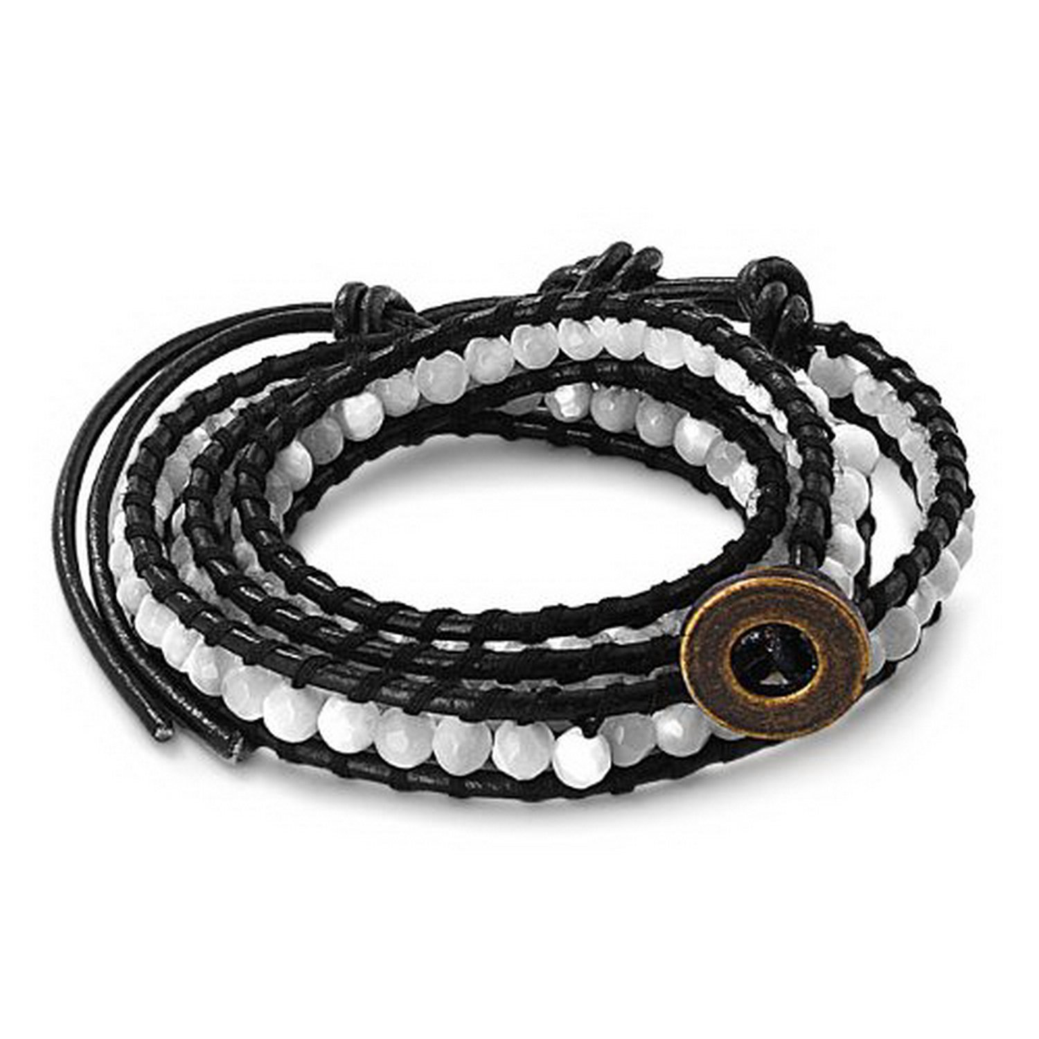 JewelryVolt FB-5830 Genuine Leather Black Wrap Bracelet Faceted Mother of Pearl Shell
