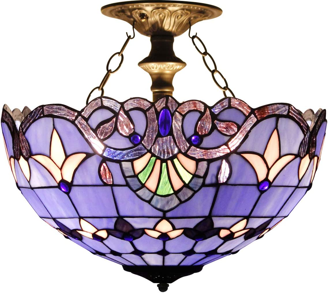 Tiffany Ceiling Fixture Lamp Semi Flush Mount 16 Inch Blue Purple Baroque Lavender Stained Glass Shade Pendant Hanging 2 Light Fixture for Dinner Room Living Room Bedroom S003C WERFACTORY