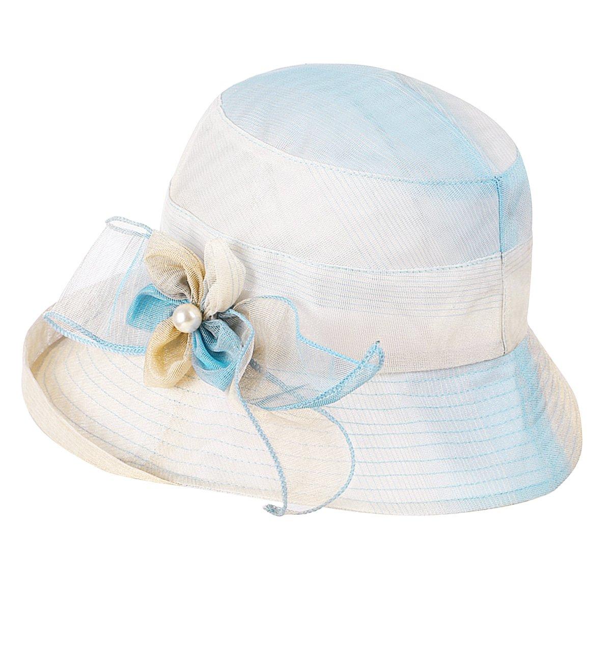 Sumolux Women Derby Church Dress Sun Hats Wide Brim Flounce Cocktail Tea Party Bridal Dress Wedding for Ladies Girls Blue