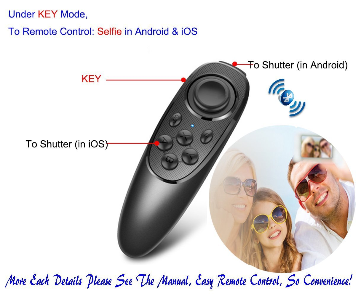 VR Remote Controller Gamepad Bluetooth Control VR Video, Film, Game, Selfie, Flip E-book/PPT/Nook page, Mouse, in Virtual Reality Headset 3D Glasses PC Tablet laptop Samsung Gear VR iPhone Smart Phone by VR EMPIRE (Image #5)
