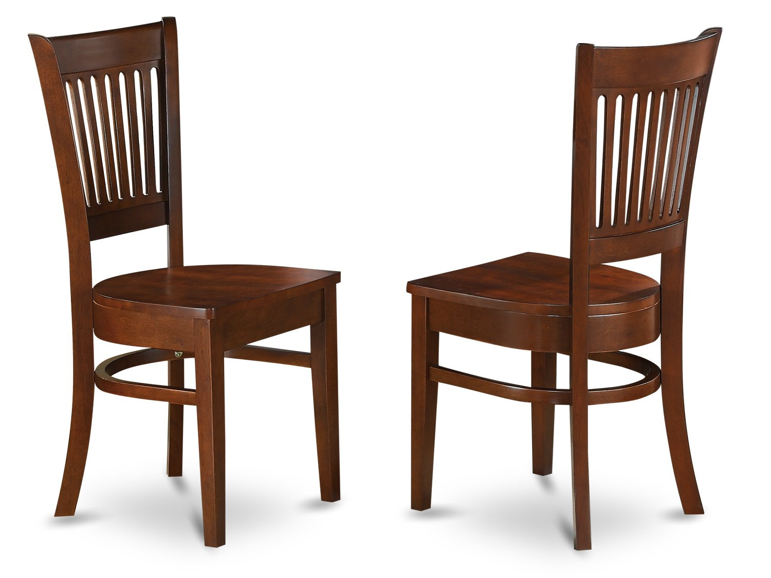 East West Furniture VAC-ESP-W Wood Seat Dining Chairs, Espresso Finish, Set of 2