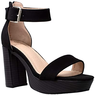 c2eace450ff0 Women s High Platform Sandals Ankle Strap Chunky Block Heels Open Toe Shoes  Black ...
