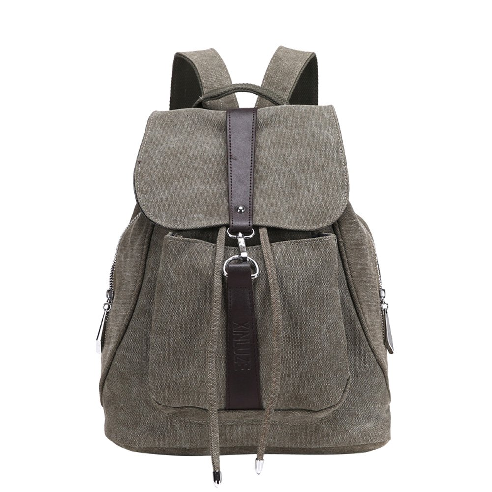 d005ac4d9677 Amazon.com  MiCoolker Classic Retro Casual Canvas Backpack Fashion Trend New  Canvas Women Shoulder Bag Army Green  Sports   Outdoors