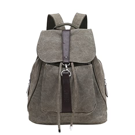 86ef95e9070e MiCoolker Classic Retro Casual Canvas Backpack Fashion Trend New Canvas  Women Shoulder Bag Army Green