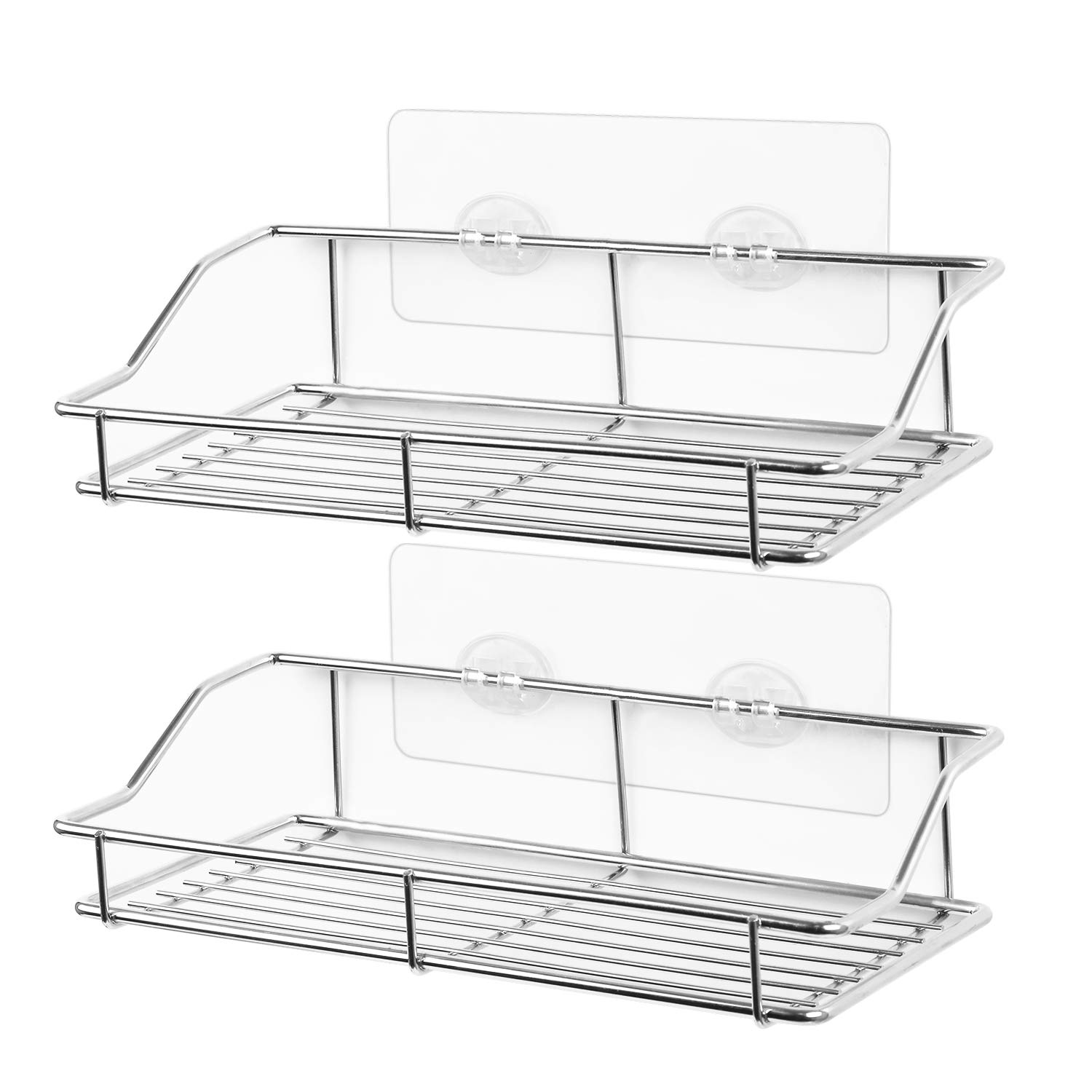 SMARTAKE [2-Pack] Bathroom Shelf, Wall Mounted Shower Caddy with Traceless Adhesive, No Drilling Storage Organizer Rack SUS304 Stainless Steel for Kitchen, Bathroom, Toilet (Silver)
