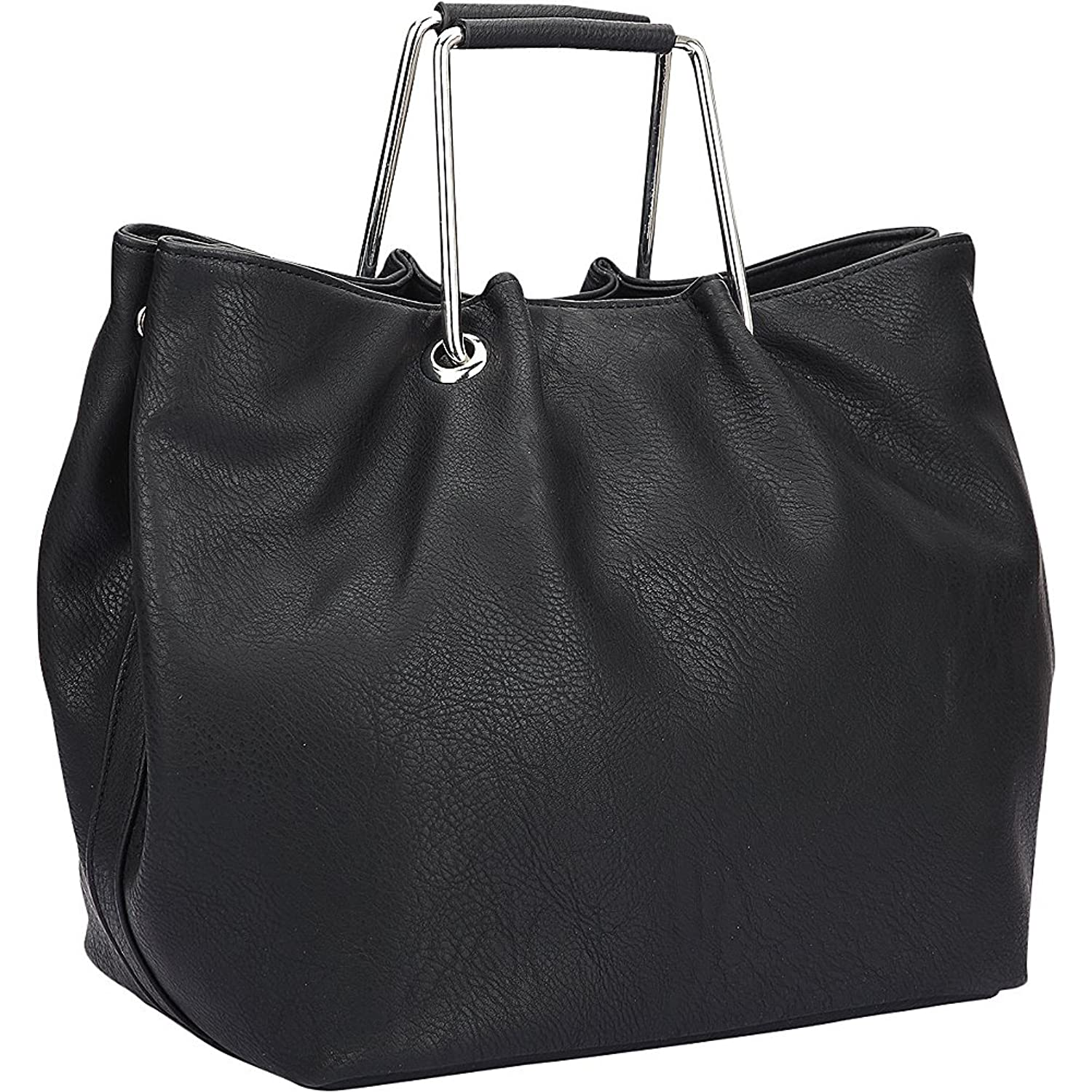 Dasein Square Handle Croc Textured Tote with Removable Shoulder Strap