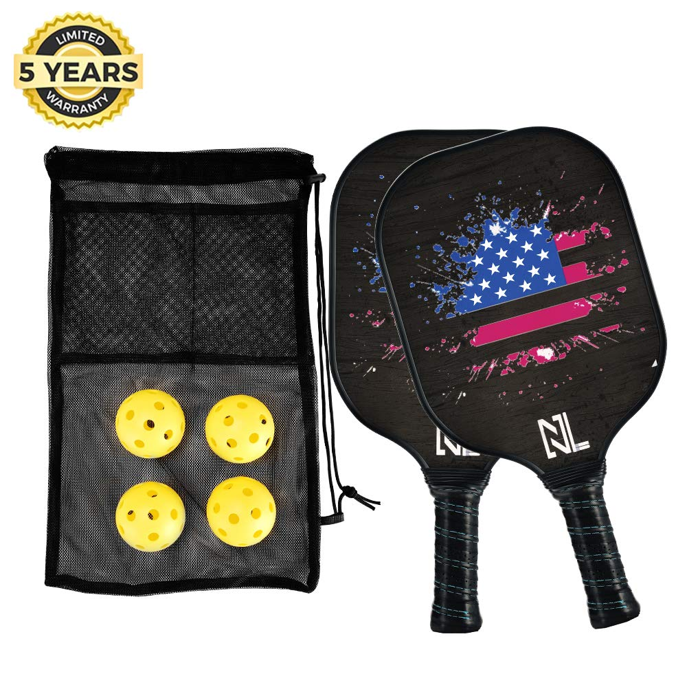 A&L Pickleball Paddle | Pickleball Paddle Set,Graphite Pickleball Racket Polypro Honeycomb Composite Core Included 2 Pickleball Paddles and 4 Pickleball Balls.(2 Paddles Set) by A&L