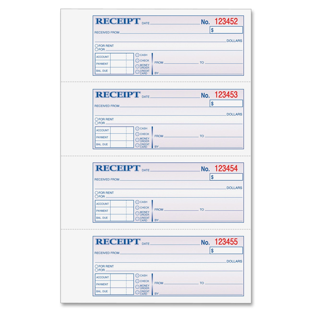 Amazon.com : Adams Money And Rent Receipt, 7.63 X 11 Inches, 2 Parts,  Carbonless, 4 Per Page, 200 Sets, White And Canary, (DC1182) : Receipt Book  : Office ...  Money Receipts