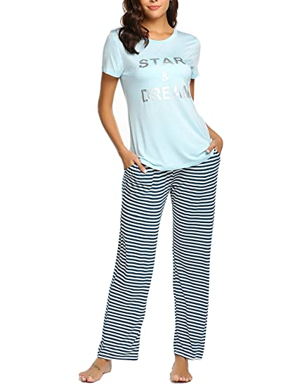 d0a0259faf Ekouaer Womens Casual Pajama Set Striped Short Sleeve Top   Pants Pjs  Nightwear Sleepwear Sets(