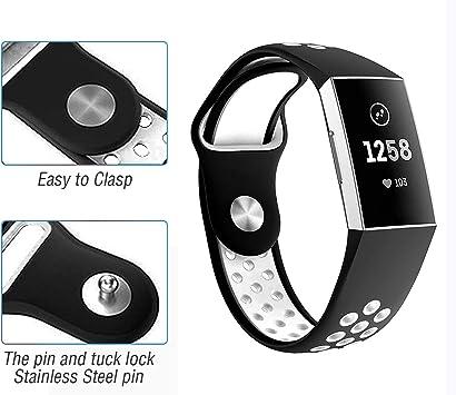 Grigio//Bianco,Piccolo HEYSTOP Compatibile Fitbit Charge 3 Cinturino,Cinturini Sportivi in Silicone Regolabile Braccialetti di Ricambio con Buchi Braccialetto per Fitbit Charge 3