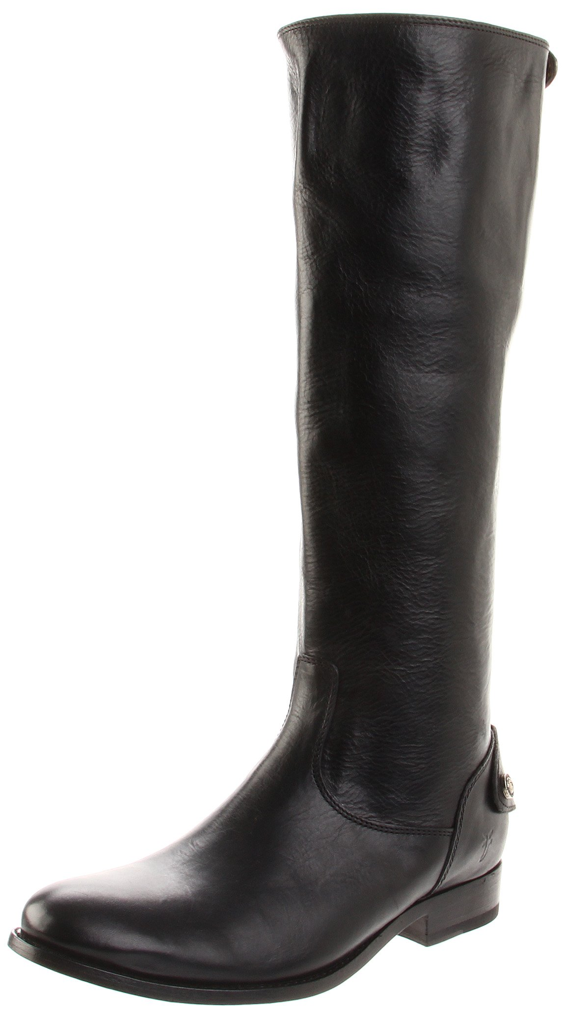 FRYE Women's Melissa Button Back-Zip Boot, Black Smooth Vintage Leather, 6 M US