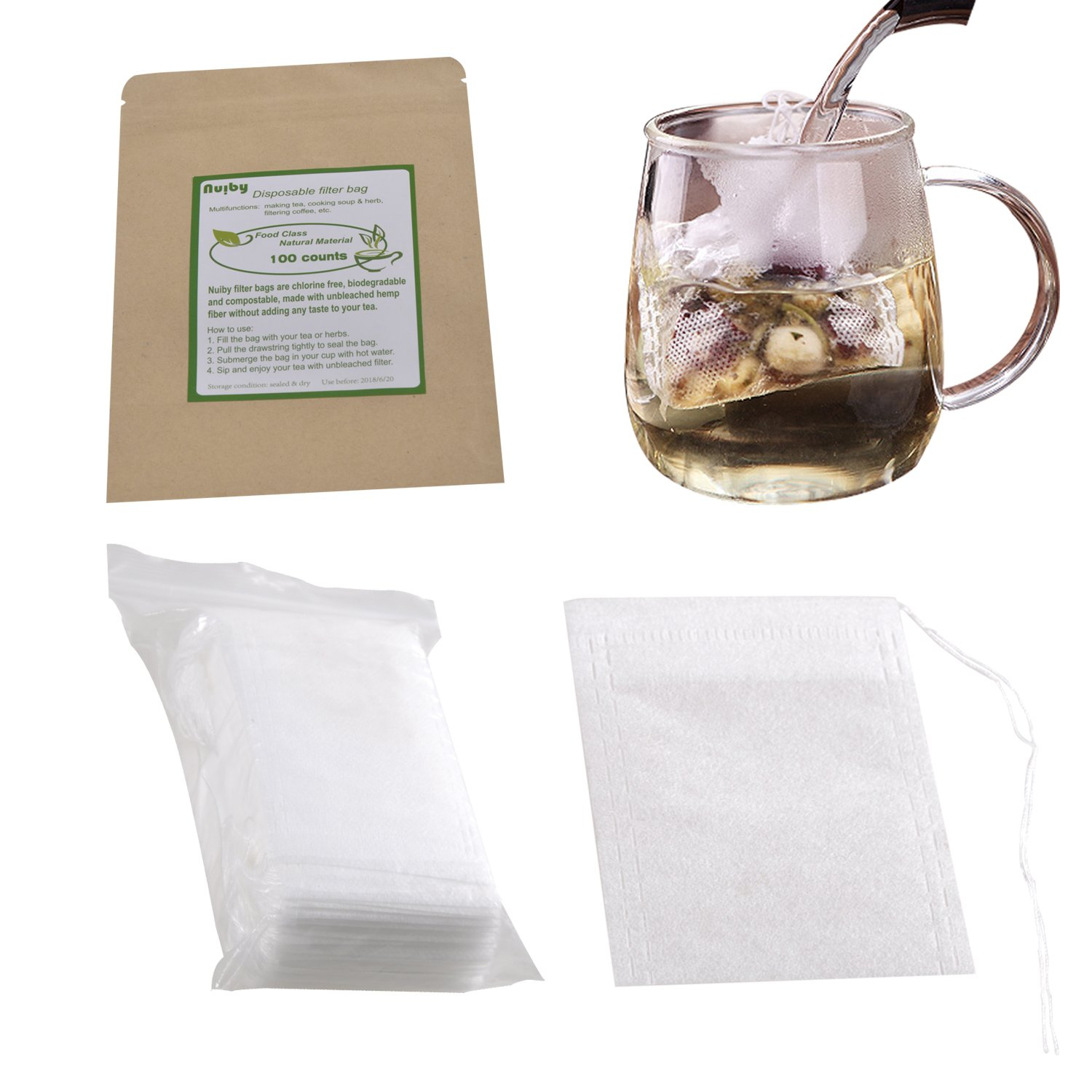 Tea Filter Bags, Unbleached 100% Natural Drawstring Empty tea bags for Loose, Herbal, Green & Weight Loss Tea - NUIBY Disposable Tea Infuser Bags - 1cup capacity, 100 counts (2.4in x 3.2in)