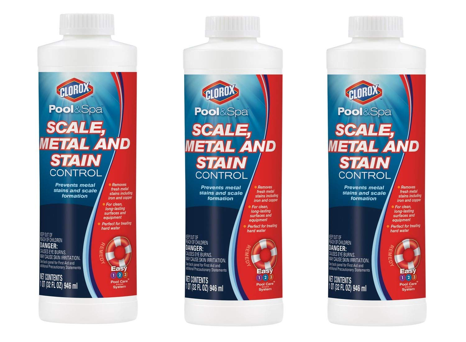 CLOROX Pool&Spa Scale, Metal and Stain Control, 1-Quart, Pack of 3 by CLOROX Pool&Spa