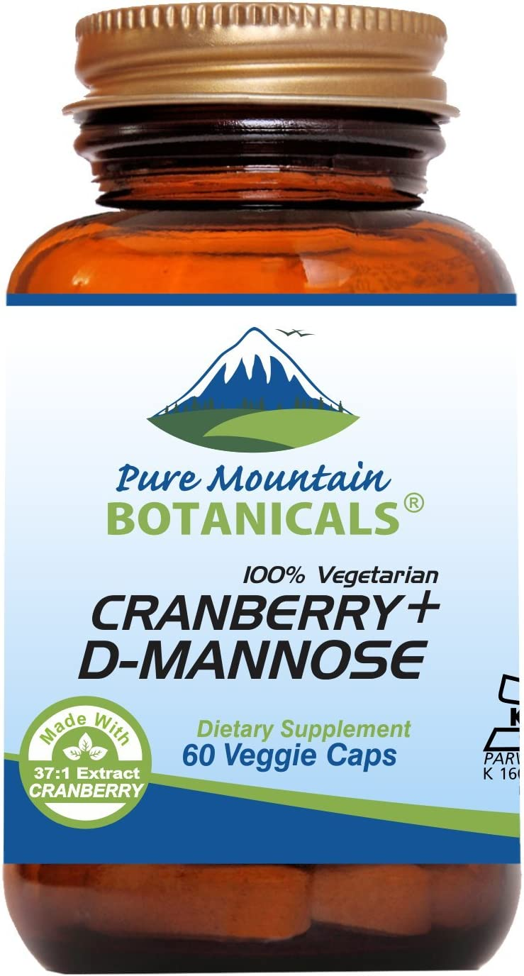 Cranberry D Mannose Capsules – 60 Kosher Vegan Caps – 1000mg D Mannose with Cranberry Concentrate Plus Vitamin C