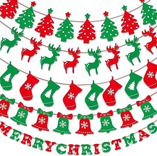 Amazon Co Jp クリスマスガーランド Atpwonz クリスマス 飾り 5種類 3 5m ベル トナカイ 靴下クリスマスツリー Merry Christmas 壁飾り イベント パーティー 店舗 ショップ 装飾 インテリア Diy 工具 ガーデン