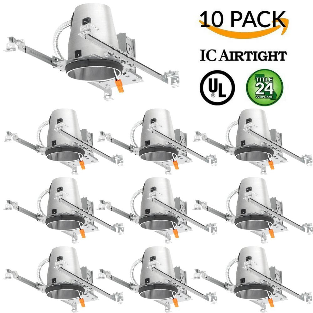 Four Bros Lighting 10 Pack - 4'' inch New Construction LED Can Air Tight IC Housing LED Recessed Lighting - TP24 Connector