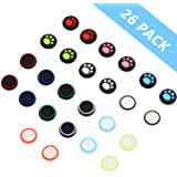 26 Pieces Replacement Thumb Grips Caps Cover Silicone Luminous Analog Controller Joystick Thumb Stick Cap Compatible with PS5