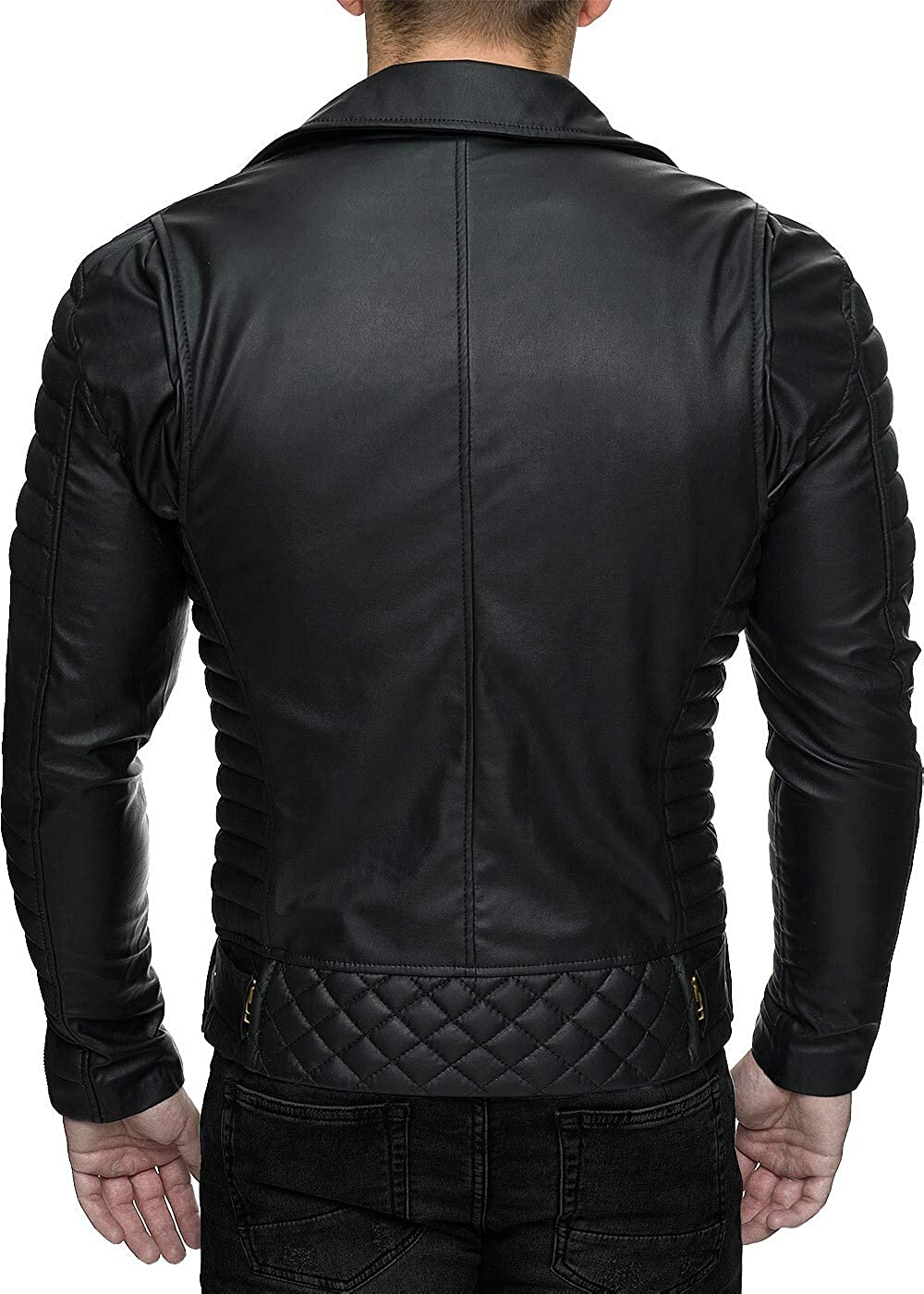 Reichstadt Men's biker jacket, removable belt. Black - Rs001 Pu - Gold Zipper