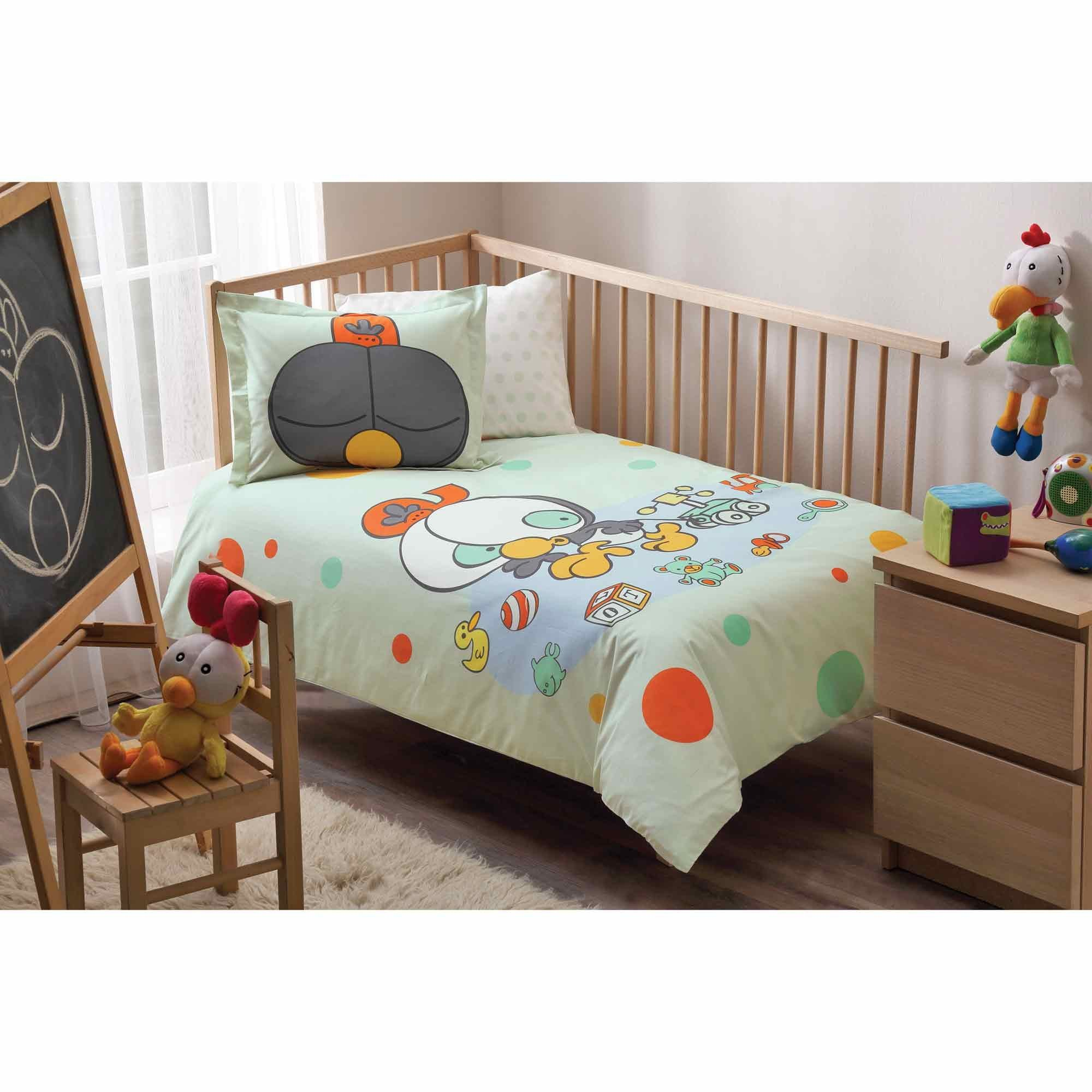 LaModaHome 4 Pcs Luxury Soft Colored Licensed Baby Quilt Cover Set 100% Cotton Green Orange Yellow Gray Bear Duck Kid Bird Toys Baby Bed with Flat Sheet