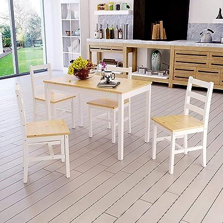 JXQ Cars Juego de Mesa de Comedor de Madera con 4 sillas Muebles contemporáneos cenar en la elección de los Colores,Natural Pine: Amazon.es: Hogar