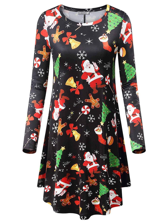 Black&santa Claus GUBERRY Women's Long Sleeve Casual Fall Midi Swing Loose TShirt Dress