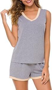 RIKILIO Women's Pajamas Set 2 Piece V-Neck Sleepwear Soft…