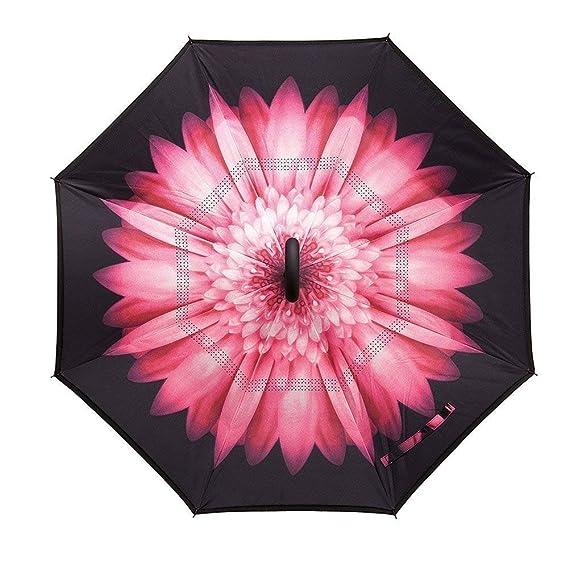 Jooayou Paraguas Invertido de Doble Capa,Paraguas Plegable de Manos Libres Autoportante,Paraguas a Prueba de Viento Anti-UV para la Lluvia del Coche al Aire ...