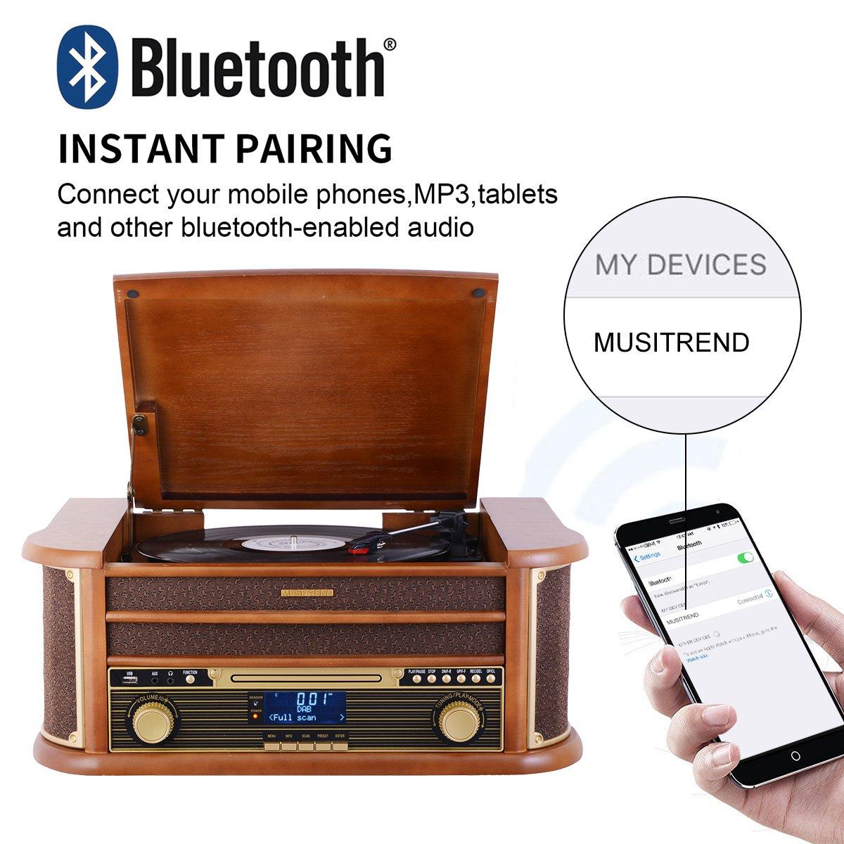 MUSITREND Tocadiscos (33 / 45 / 78 RPM) estéreo de 3 velocidades con Altavoces incorporados, Marrón Sistema de Audio para el hogar (BT, Dab/FM Radio, ...