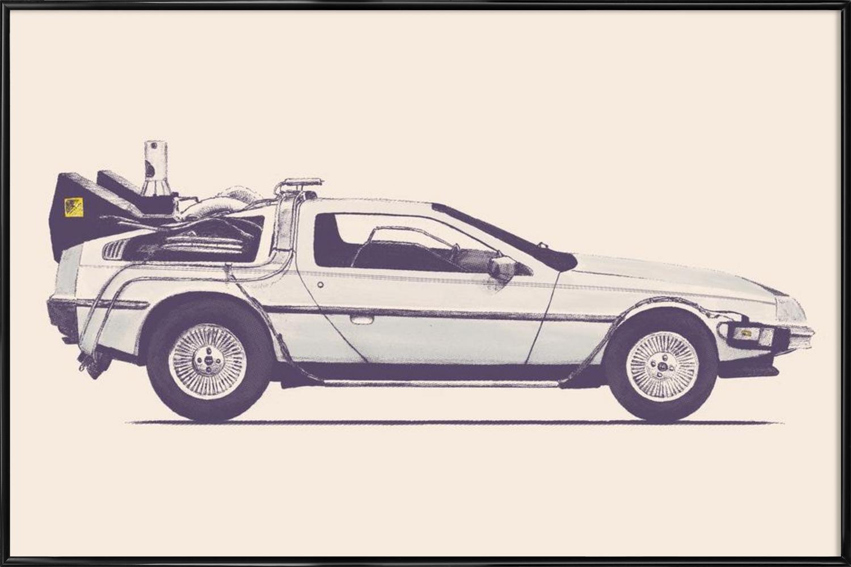 """JUNIQE® Bild mit Rahmen 40x60cm Autos Filme - Design """"Delorean - Back to the Future  (Format  Quer) - Wandbilder, Gerahmte Bilder & Gerahmte Poster von unabhängigen Künstlern - Film-, Serien- und TV-Kunst - entworfen von Florent Bodart"""