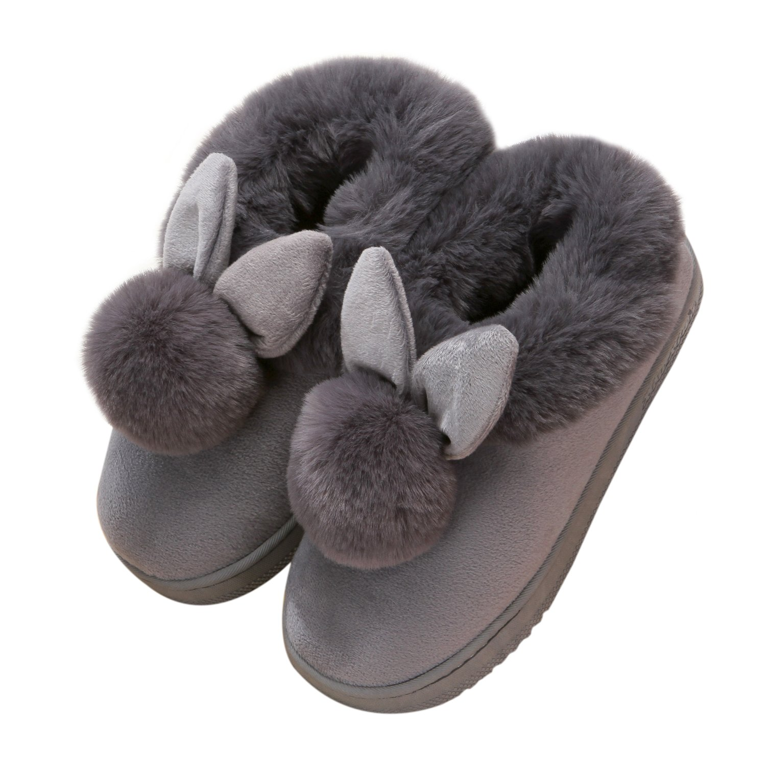 YOWOO Soft Plush Warm Bedroom Indoor Non Slip Slippers for Women Cute Bunny Style (Grey S)