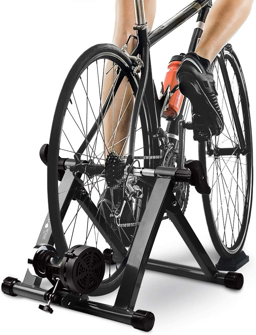 """HEALTH LINE PRODUCT Bike Trainer Stand with 8 Resistance Setting, Portable 26""""-28"""" Indoor Bicycle Trainer w Quiet Noise Reduction - Stationary Cycling Exercise for Road & Mountain Bikes"""