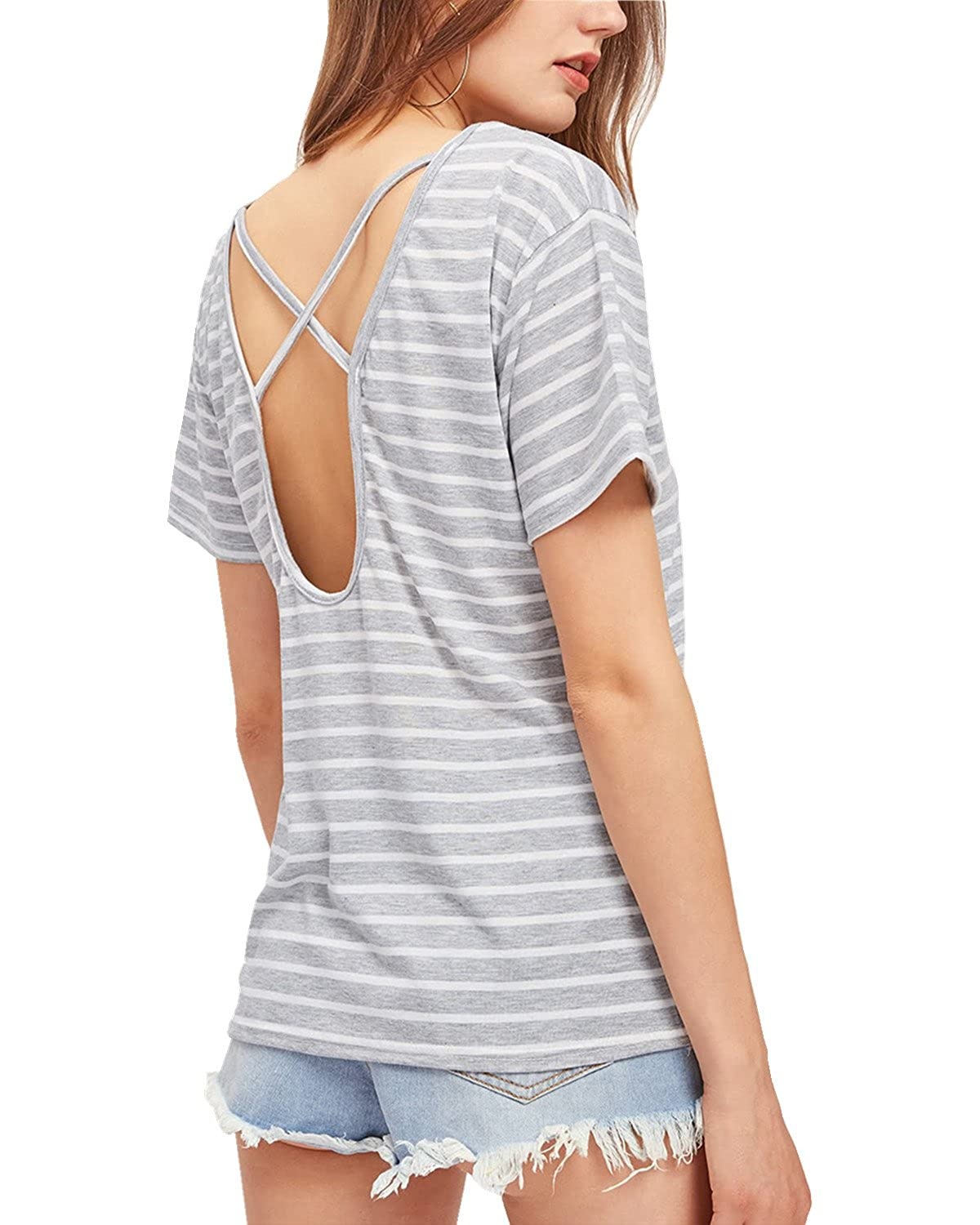 8b0f3f44 Amazon.com: Joeoy Women's Pocket V Neck Criss Cross Back Shirt Short Sleeve  Stripe T-Shirt Tee Tops: Clothing